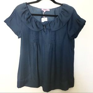 Calypso St. Barth Indigo Ruffle Collar Shirt
